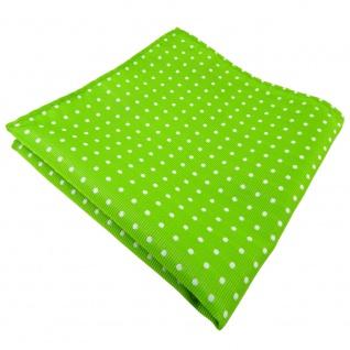 TigerTie Einstecktuch grün leuchtgrün neongrün silber gepunktet - Tuch Polyester