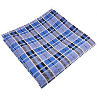 TigerTie Einstecktuch in blau schwarz silber grau kariert - Tuch 100% Polyester