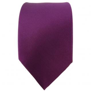 TigerTie Satin Seidenkrawatte in pflaume einfarbig Uni - Krawatte 100% Seide - Vorschau 2