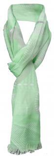 Satin Schal in grün weiß grau gemustert mit kleinen Fransen - Gr. 180 x 50 cm