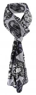 Schal in grau anthrazit schwarz mit Herzmotiven gemustert - Gr. 180 x 50 cm