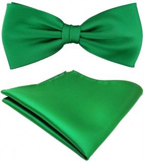 TigerTie Satin Fliege + Einstecktuch grün leuchtgrün Uni Einfarbig + Geschenkbox