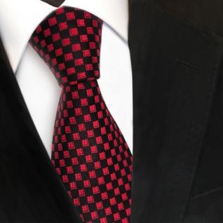 Designer Seidenkrawatte rot signalrot schwarz gemustert - Krawatte Seide Tie