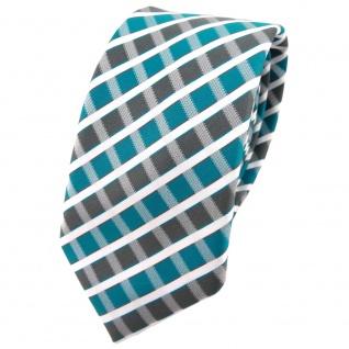 Schmale TigerTie Krawatte türkis grau silber weiss gestreift - Schlips Binder