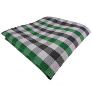 TigerTie Einstecktuch grün smaragdgrün silber grau anthrazit kariert - Tuch
