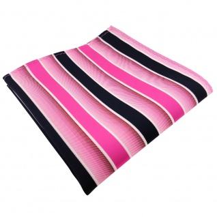 TigerTie Einstecktuch pink rosa dunkelblau weiß gestreift - Tuch 100% Polyester