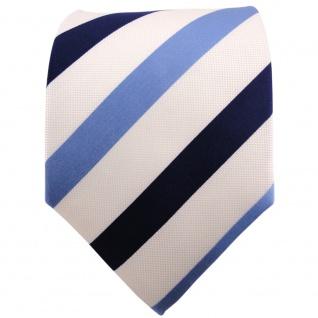 Seidenkrawatte blau royal perlmuttweiß gestreift - Tie Krawatte 100% Seide Silk - Vorschau 2