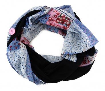 Schal blau rosa rot weiss schwarz gemustert mit Knöpfen an der Seite - 180x40 cm