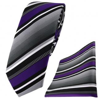 schmale TigerTie Krawatte + Einstecktuch in lila silber grau weiss gestreift