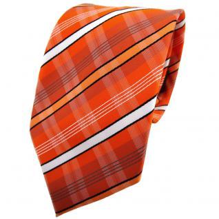TigerTie Krawatte orange verkehrsorange weiß schwarz grau gestreift - Binder