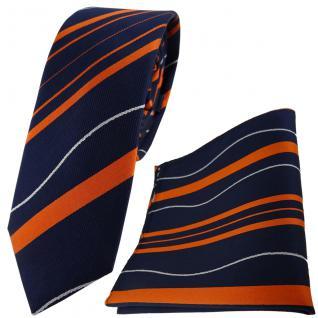 schmale TigerTie Seidenkrawatte + Einstecktuch in orange royal silber gestreift