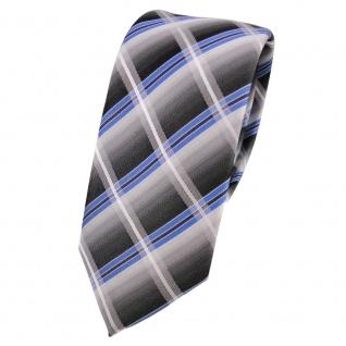 Schmale Designer Seidenkrawatte blau silber grau anthrazit kariert - Krawatte