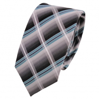 Schmale TigerTie Seidenkrawatte türkis silber grau anthrazit kariert - Krawatte