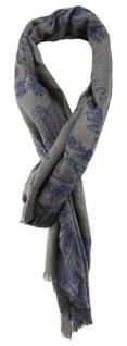 TigerTie Designer Schal in grau blau gemustert mit kleinen Fransen
