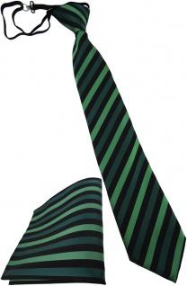 Kinderkrawatte + Einstecktuch grün dunkelgrün schwarz - vorgebunden mit Gummizug