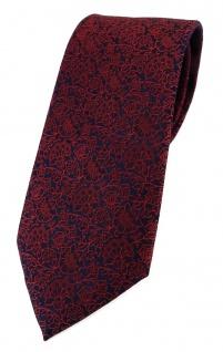 TigerTie Designer Krawatte in rot weinrot dunkelrot schwarz florales Muster