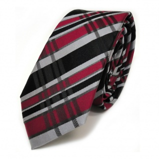 schmale TigerTie Seidenkrawatte schwarz rot grau silber kariert - Krawatte Seide