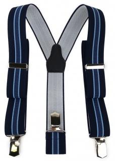 TigerTie Unisex Hosenträger mit 3 extra starken Clips - blau hellblau gestreift