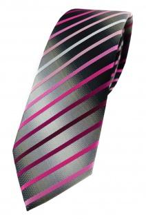 TigerTie - schmale Krawatte rosa magenta weiss silbergrau schwarz gestreift