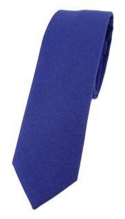 TigerTie - schmale Krawatte in royal einfarbig - Breite 5, 5 cm - 100% Baumwolle