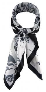 TigerTie Damen Nickituch Halstuch in grau silber schwarz weiss gemustert