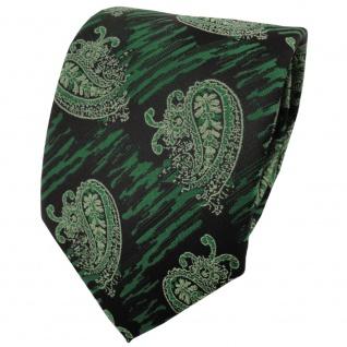 schöne TigerTie Krawatte in grün moosgrün schwarz paisley gemustert - Binder Tie
