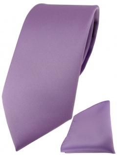 TigerTie Designer Krawatte + TigerTie Einstecktuch dunkles flieder einfarbig uni