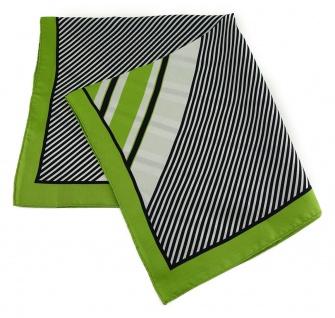 TigerTie Seiden Nickituch in grün schwarz weissgrau gestreift - Größe 50 x 50 cm