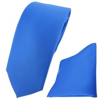 schmale TigerTie Krawatte + Einstecktuch blau einfarbig Uni
