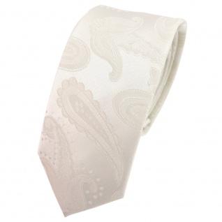 schmale TigerTie Designer Krawatte creme beige cremeweiß Paisley - Schlips Tie