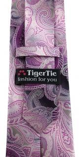 TigerTie Designer Seidenkrawatte in lila magenta grau silber Paisley gemustert - Vorschau 4