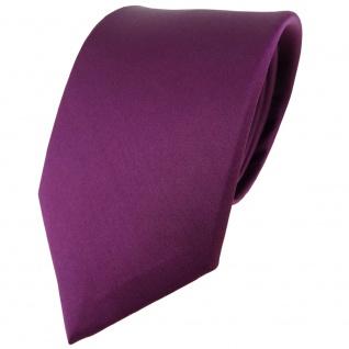 TigerTie Satin Seidenkrawatte in pflaume einfarbig Uni - Krawatte 100% Seide