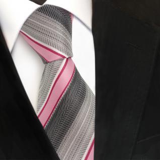 TigerTie Seidenkrawatte rosa rot grau silber anthrazit gestreift- Krawatte Seide