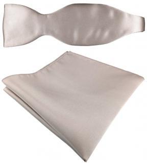 Selbstbinder + TigerTie Satin Einstecktuch in Uni grau silber - 100% reine Seide