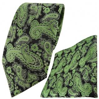 TigerTie Designer Krawatte + Einstecktuch grün schwarz silber Paisley gemustert