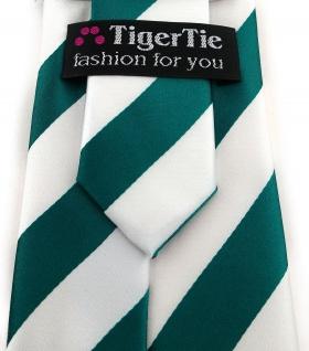 TigerTie Designer Krawatte in petrol weiss gestreift - Vorschau 3