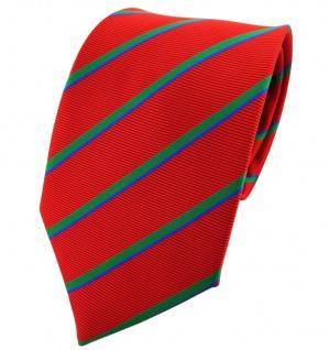 TigerTie Krawatte rot grün blau gestreift - Binder Tie Polyester