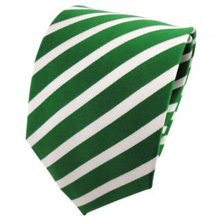 TigerTie Seidenkrawatte grün knallgrün silber gestreift - Krawatte Seide Binder