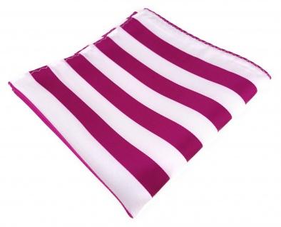 TigerTie Einstecktuch in magenta weiss gestreift - Stecktuchgröße 30 x 30 cm