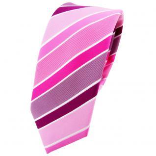 Schmale TigerTie Krawatte rosa magenta pink lila weiß gestreift - Binder Tie