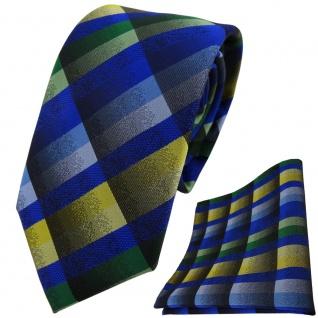 TigerTie Krawatte + Einstecktuch in blau grün gelb grau kariert