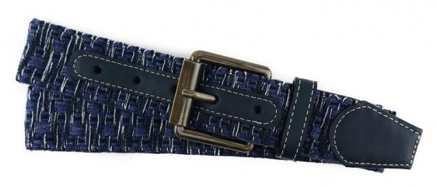 TigerTie - Stoffgürtel in blau dunkelblau weiss gemustert - Bundweite 100 cm