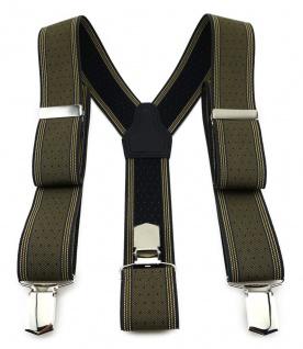 TigerTie Unisex Hosenträger mit 3 extra starken Clips - olive gold silber