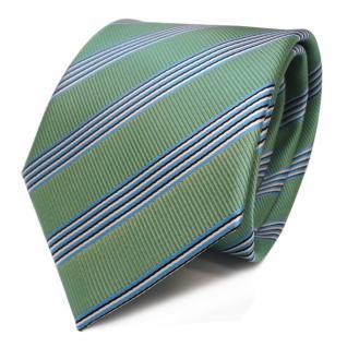 Designer Krawatte grün hellgrün blau schwarz weiß gestreift - Schlips Binder Tie