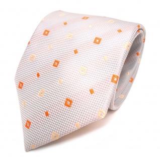 Designer Krawatte grau silber orange gemustert - Schlips Binder Tie