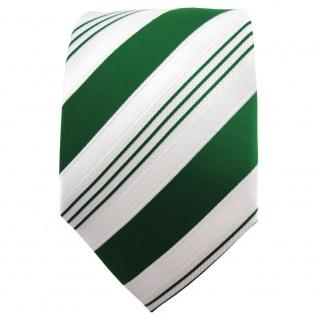 TigerTie Satin Krawatte grün dunkelgrün weiß silber gestreift - Binder Schlips - Vorschau 2