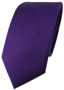 TigerTie Designer Krawatte in lila violett einfarbig Uni Rips