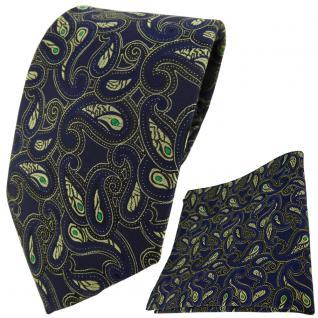 TigerTie Krawatte + Einstecktuch in marine grün gold schwarz Paisley