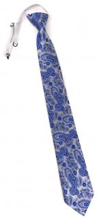 TigerTie Security Sicherheits Krawatte in blau silber Paisley gemustert