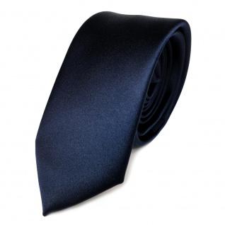 Schmale TigerTie Satin Krawatte blau marine dunkelblau uni einfarbig Schlips Tie